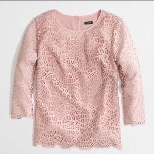 J. Crew Blush Pink Scalloped Lace Blouse